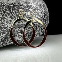 【送料無料】アクセサリー ネックレス ゴールデンイヤリングリングツイストエナメルダークレッドorecchini dorato 2 anello ovale grandi ritorto smalto rosso scuro matrimonio