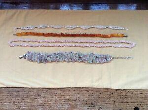 【送料無料】アクセサリー ネックレス カットチップネックレスアンバーアメジストquattro collane di naturale uncut gemstone chipsquarzo, ambra e ametista