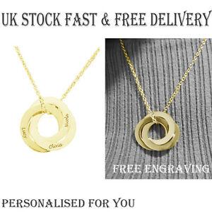 男女兼用アクセサリー, ネックレス・ペンダント  personalizzato oro 3 collegamenti anello ciondolo inciso nome collana