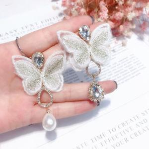 【送料無料】アクセサリー ネックレス メッキピンファブリックファッションイヤリングorecchini a perno dorato grandi farfalla bianca sta asimmetrico moda aa27