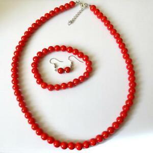 【送料無料】アクセサリー ネックレス ネックレスブレスレットイヤリングシルバーレッドコーラルparure collana bracciale orecchini colore argento, corallo rosso 9 mm 385 bb