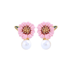 【送料無料】アクセサリー ネックレス パールホワイトヒマワリシートピンクエナメルイヤリングクリップorecchini clip on perla bianco floreale girasole foglio smalto rosa l1