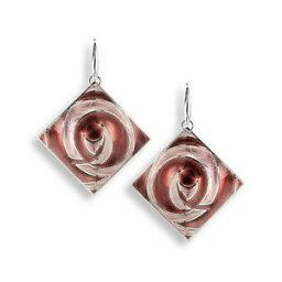 【送料無料】ネックレス ニコールスクエアイヤリングホウロウピンクnicole barr vitreous enamel on sterling silver abstract square earrings pink