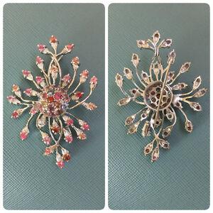 男女兼用アクセサリー, ネックレス・ペンダント  burma natural assorted colour sapphire pendant brooch