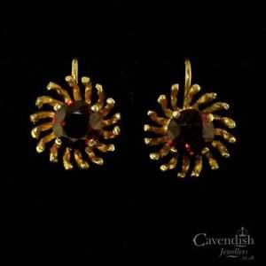 【送料無料】ネックレス ヴィンテージゴールドガーネットサンバーストイヤリングvintage 9ct gold garnet sunburst earrings