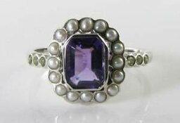 【送料無料】ネックレス suffragette 9k9ct white gold amethyst pearl peridot artdeco ins ring free sizesuffragette 9k 9ct white gold amethyst pearl