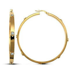 【送料無料】ネックレス ファッションイエローゴールドソリッドフープイヤリングセットfashion 9ct yellow gold solid womens cz set hoop earrings 507mm
