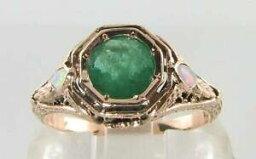 【送料無料】ネックレス kローズゴールドエメラルドオパールアールデコインリングフリーサイズlarge 9ct 9k rose gold emerald amp; opal filigree art deco ins ring free resize