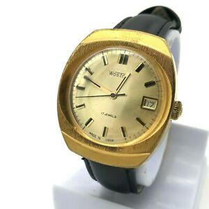 腕時計, 男女兼用腕時計  ussrplaccato oro orologiomeccanicouomo sovieticaussr vostok data placcato oro orologio vintage meccanico