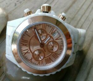 腕時計, 男女兼用腕時計  vicence white ceramic chronograph watch 14kt rose gold bezel battery 6