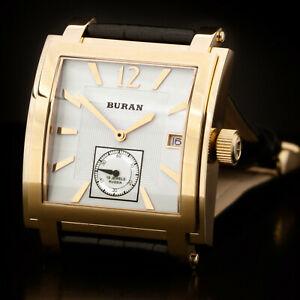 腕時計, 男女兼用腕時計  buran square poljot rise manually 2614021066511 russian gold watch