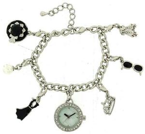 【送料無料】 腕時計 ハリウッドオードリーヘプバーンブレスレットファッションウォッチhollywood legends audrey hepburn silver charm bracelet fashion watch w2729m