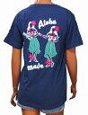 SALE ハワイアン雑貨/ハワイアン 雑貨/アロハメイド レディース サガラ刺繍 半袖 Tシャツ(ネイビー) AM207004 メール便対応可 ハワイアン雑貨/サーフブランド ハワイアン 雑貨/ハワイ お土産 ハワイアン サーフ