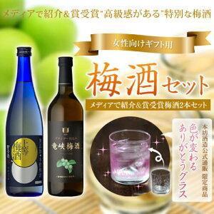 受賞梅酒セット IWSC最高銀賞 ダブル受賞[竜峡梅酒 上等梅酒 色が変わるグラス付セット]/…