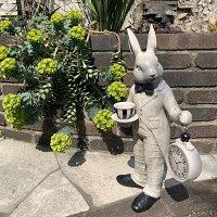 ラビット(時計)13237【オーナメントガーデニング】【Gardening置物うさぎウサギ動物ガーデンオブジェ】【NOGAWA野川農園】