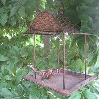 【バードバス】ハウス型バードフィーダー吊り下げタイプ★屋根のついた小鳥のエサ台。プレゼントに人気です【37111】【アイアンバードフィーダーガーデンオーナメントオブジェ小鳥野鳥】