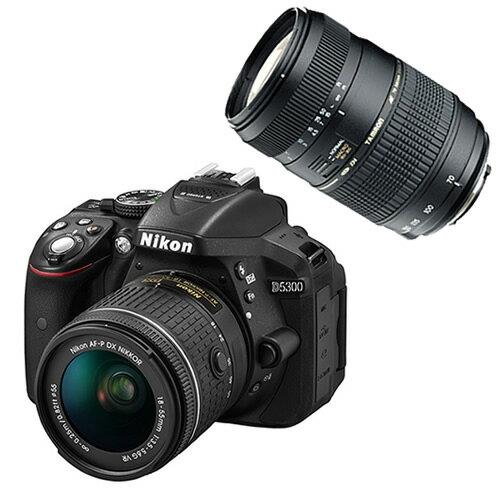 【タムロンAF70-300mmオリジナルダブルズームキット】ニコン D5300 AF-P 18-55 VRキット ブラック デジタル一眼レフカメラ レンズキット [D5300LKP18-55][Nikon]