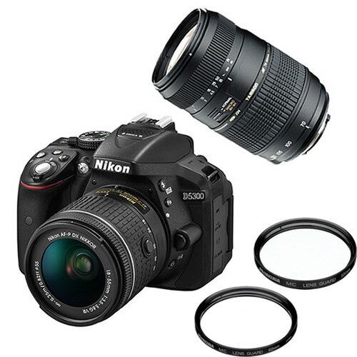 【ダブルズーム&フィルターセット!】ニコン D5300 AF-P 18-55 VRキット ブラック デジタル一眼レフカメラ レンズキット [D5300LKP18-55][Nikon]