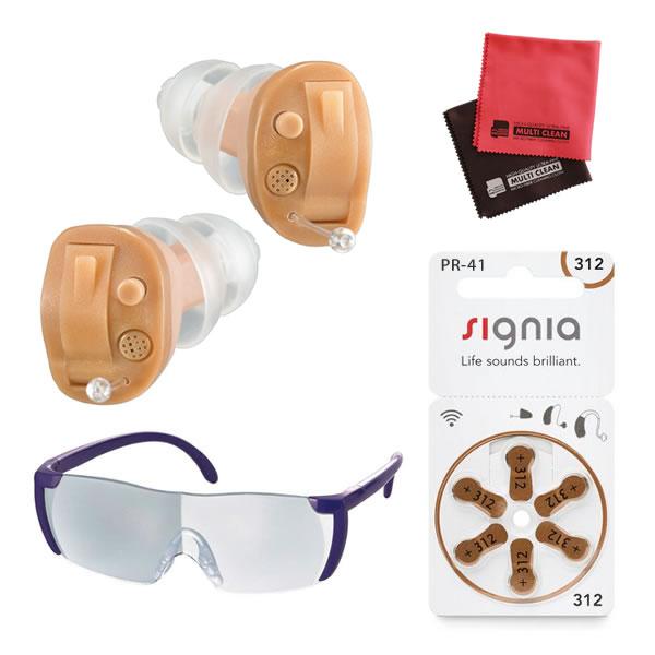 補聴器 電池 pr41 対応 耳穴式補聴器 OHS-D21L/R 両耳セット 祖父 祖母 オンキヨー 非課税(ルーペ&電池&クロス付き)(ラッピング不可)