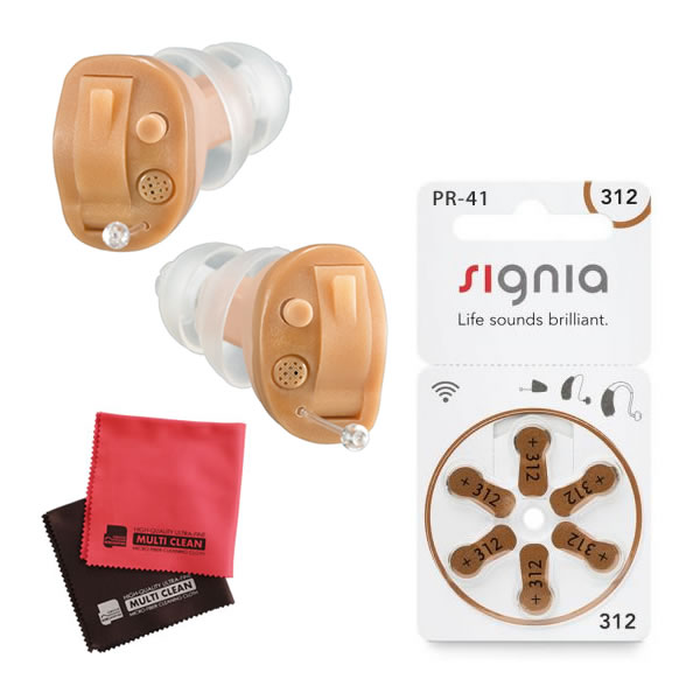 補聴器 電池 pr41付 耳穴式 両耳 ONKYO オンキョー OHS-D21R(右耳用) & OHS-D21L(左耳用) 非課税 (電池付き 補聴器 両耳セット)