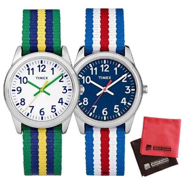 【親子・女子ペアウオッチ・クロス2枚セット】【正規輸入品】[タイメックス]TIMEX タイムティーチャー 腕時計 31mm(キッズ・レディスサイズ) TW7C09900 Blue&TW7C10100 White