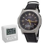 【セット】カシオ【時計】 wave ceptor ウェーブセプター WVA-M630L-1A2JFタフソーラー 世界6局対応電波ソーラー腕時計(WVA-M630Dシリーズの革バンドモデル)【国内正規品】&カシオ電波置時計DQD-805J-8JF