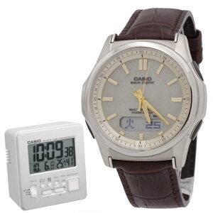 【セット】カシオ【時計】 wave ceptor ウェーブセプター WVA-M630L-9AJFタフソーラー 世界6局対応電波ソーラー腕時計(WVA-M630Dシリーズの革バンドモデル)【国内正規品】&カシオ電波置時計DQD-805J-8JF