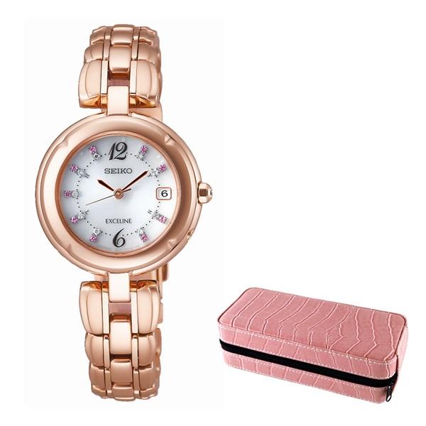 (セット)(国内正規品)(セイコー)SEIKO 腕時計 SWCW130 ドルチェ&エクセリーヌ レディース SAKURA Blooming 2018 限定モデル&腕時計ケース2本用 ピンク SE80005PK(チタンバンド 電波ソーラー アナログ表示)(桜色セレクション)