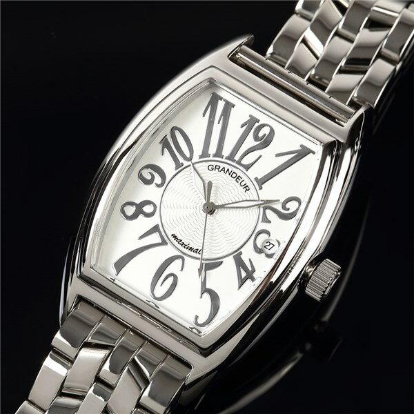 【正規輸入品】(グランドール)GRANDEUR 腕時計 JGR001W1 メンズ 日本製 トノー型(ステンレスバンド クオーツ アナログ)