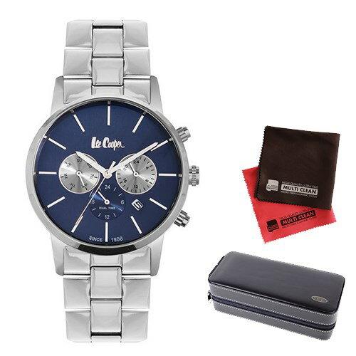 【セット】【正規輸入品】(リークーパー)Lee Cooper 腕時計 LC6343.390 ステンレススチール メンズ&時計アクセサリーケース ブラック・クロス2枚(ステンレスバンド クオーツ 多針アナログ)