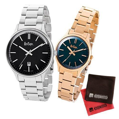 【ペア箱入りセット】【正規輸入品】(リークーパー)Lee Cooper 腕時計 LC6292.350 メンズ・LC6300.490 レディース&クロス2枚(ステンレスバンド クオーツ アナログ ペアウォッチ)