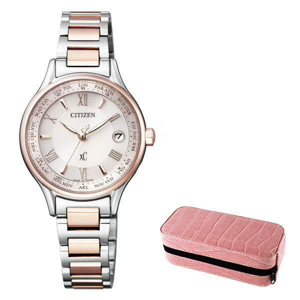 (時計ケースセット)(国内正規品)(シチズン)CITIZEN 腕時計 EC1165-51W (クロスシー)xC レディース ティタニアライン ハッピーフライト サクラピンク(チタンバンド 電波ソーラー アナログ)