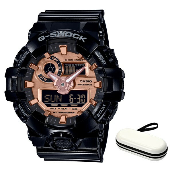 (時計ケースセット)(国内正規品)(カシオ)CASIO 腕時計 GA-700MMC-1AJF (ジーショック)G-SHOCK メンズ BLACK & ROSE GOLD(樹脂バンド クオーツ アナデジ)