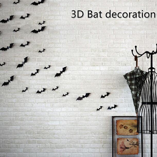 ウォールステッカー コウモリ 12匹 ハロウィンウォールステッカー コウモリ モノクロ 雑貨 ウォールデコ 壁紙シール 装飾品 壁飾り 部屋デコレーション送料無料の写真