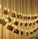 送料無料 LEDストリングライト 20LED写真/絵クリップ DIY吊り下げる飾り 3M イルミネーションライト 電...