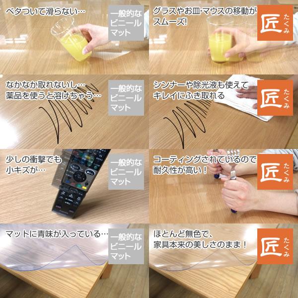 透明テーブルマット 両面非転写 高級テーブルマット ダイニングテーブルマット テーブルマット匠(たくみ) 変形(2mm厚) 120×120cmまで 透明 テーブルマット テーブルクロス
