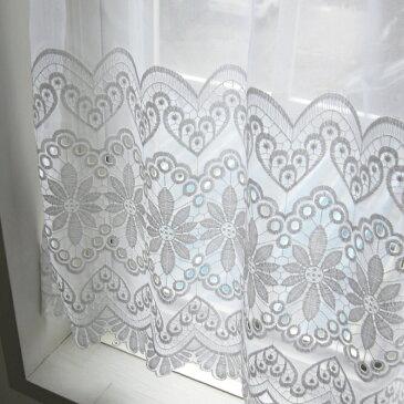 カフェカーテン(小窓用カーテン) レース 60cm丈 カフェカーテン オーダー(切り売り) EF-396 小窓をおしゃれに演出してくれる 上品な花の刺繍がおしゃれなレースのオーダーカフェカーテン [メール便可/宅コン可]