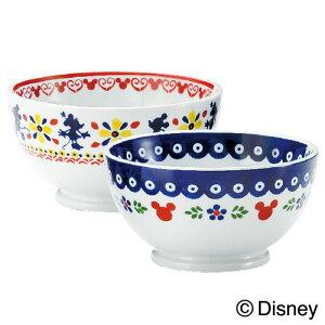ディズニー/Disney食器ペアオレボウルセット『ポーリッシュ』ポーリッシュポタリー風にミッキーマウスをプラスしたおしゃれでかわいい食器セットサラダボウルやスープボウル,小どんぶりに結婚祝い,内祝いのギフトに