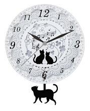 壁掛け時計振り子『黒猫ガラス振り子時計』
