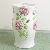 傘立て筒型『バラレリーフピンク』白の地色にピンクの薔薇のレリーフがおしゃれな陶器製のレインラックです玄関のインテリアにもなる傘や杖などの収納にヨーロッパのポルトガルから輸入したハンドメイドの傘たてあす楽対応