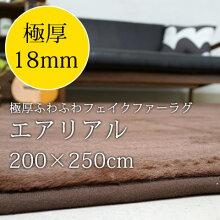 ラグマット185×185cm防ダニ/床暖房・ホットカーペット対応リーフ柄日本製ラグ『エアリアルファー』