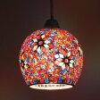 ペンダントライト(1灯) ガラス LED対応 アンティーク レトロ アジアン 玄関やダイニングの照明に 『モザイク ペンダントラント ミフリマ』
