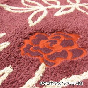 トイレマットSybilla/シビラ60×60cm綿100%花柄『マラケシュ』[ブルー/ベージュ/レッド]【あす楽対応】
