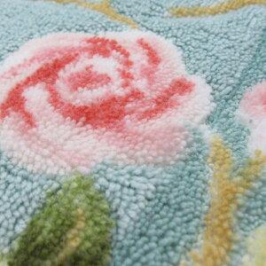 トイレマット約60×62cmロイヤルコレクション『グラバード』ミントグリーン/アイボリー/ピンク薔薇(バラ)モチーフのエレガントでおしゃれ。洗えるトイレマット日本製あす楽対応,新築祝いなどギフト(プレゼント)にも!【HLS_DU】