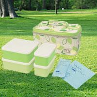 保冷剤付きのお弁当箱♪みんなで囲める容量大きめのお弁当箱。行楽ランチボックス行楽ランチボ...