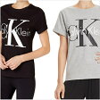 【クーポン対象】カルバンクライン レディース Tシャツ レトロ ロゴ CK クルーネックTシャツ スリープウェア 部屋着 普段使い ジムやマラソン、ランニングやリラックスタイムにもオススメ!