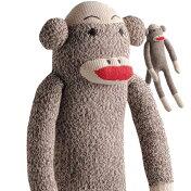ソックモンキーSockMonkey犬のおもちゃぬいぐるみ靴下のお猿さんわんこのおもちゃにインテリアにクラシックトラディショナルおなかを押すと音がします