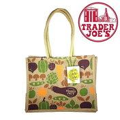 TraderJoe'sトレーダージョーズジュートトートバッグベジタブルズ野菜柄のエコバッグ大きめショッピングバッグトレジョー