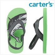 Carter'sカーターズシャーク鮫蛍光グリーン/チャコールストラップ付きビーチサンダルフリップフロップス踵ゴムキッズ/子供用女の子/男の子