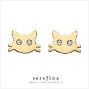 【送料無料】serafinaセラフィーナゴールドチャッキー猫にゃんこスタッズピアス【楽ギフ_包装】